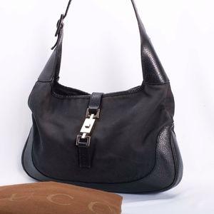 5877e97fff62 Gucci Sold · Vintage GUCCI Jackie O Hobo Black Shoulder Handbag